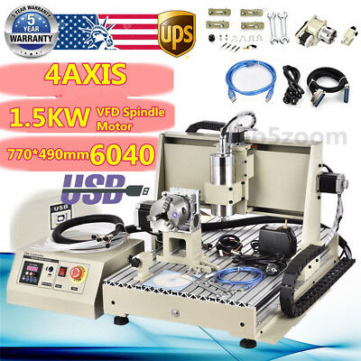 Usb 4axis 6040z Cnc Router Engraver Engraving Machine Woodwork Cutting Milling3d