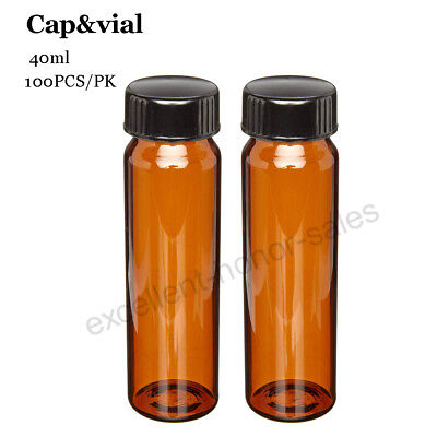 100pcs 40ml Amber Vial 24-400 Screw Top Flat Bottom With Black Screw Cap Hplc