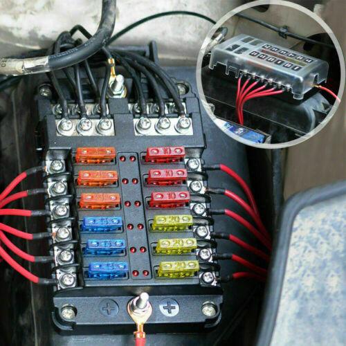 12-Way Blade Fuse Box Block Holder LED Indicator 12V 32V Auto Marine Waterproof
