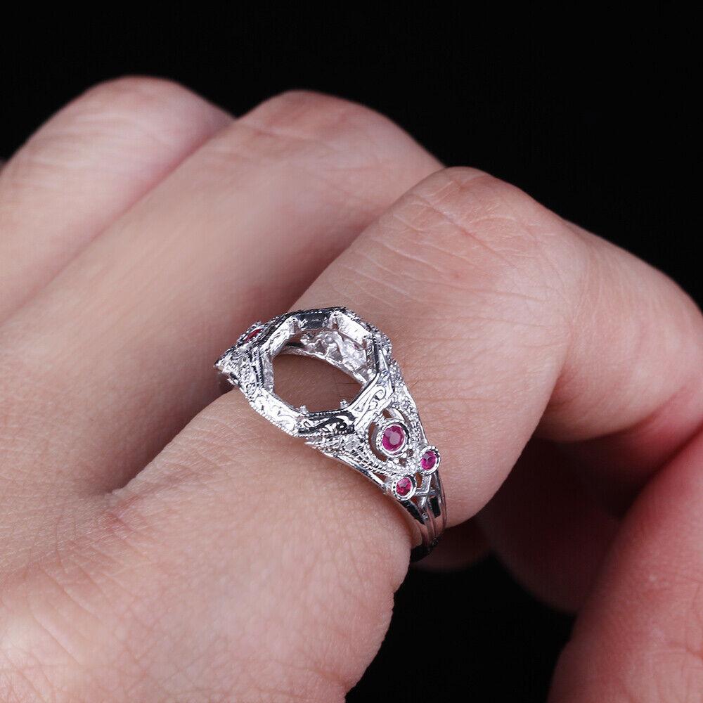 Antique Jewelry Round Cut Diamonds&Genuine Rubies Semi Mount 10K ...