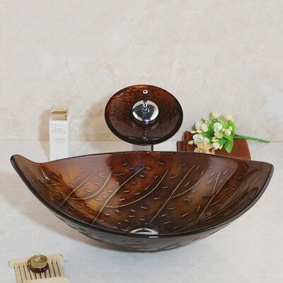 Countertop Bathroom Oval Vessel Sink Basin Bowl Tempered Glass Faucet Drain Sink