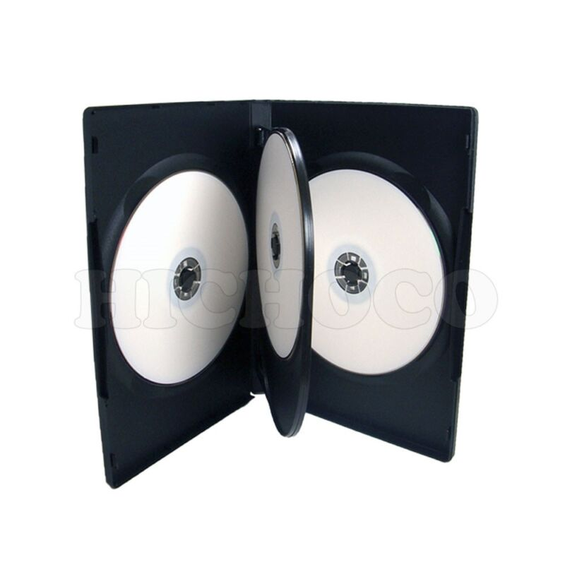 50 14mm Multi Hold 4 Disc Quad CD DVD Black Case Movie Game Box Wholesale