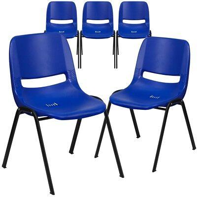 5 Pk. Hercules Series 880 Lb. Capacity Blue Ergonomic Shell Stack Chair