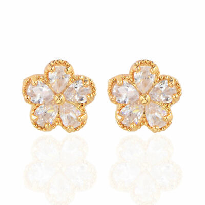 Pretty New Yellow Gold Plated 5 Clear Pear CZ Flower Set Stud Earrings ()