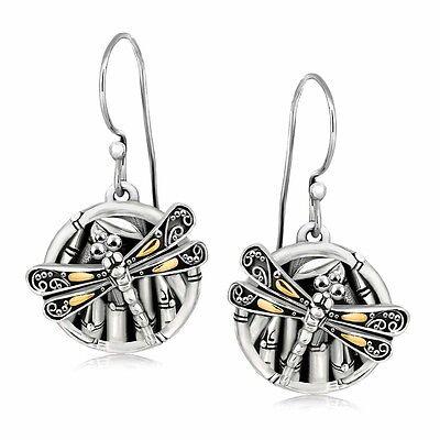 Phillip Gavriel Dangle Earrings 18k Gold 925 Silver Bamboo Circle Dragonfly