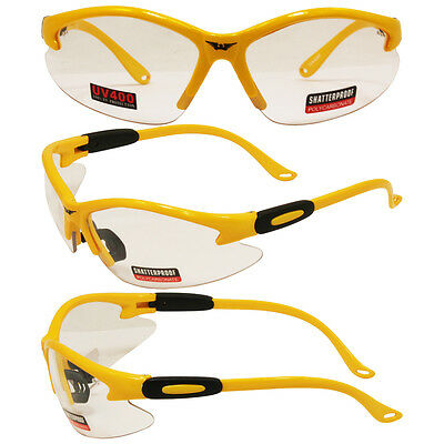 GLOBAL VISION COUGAR SAFETY SUNGLASSES YELLOW FRAME CLEAR LENS