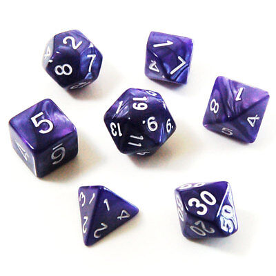 7pcs Set Polyhedral Dice - Role Playing Game Dice, Royal Purple Marbled Swirl