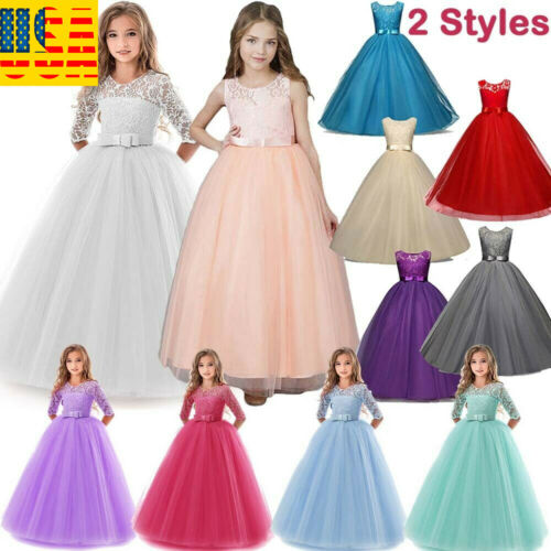 Flower Girl Long Dress Princess Party Wedding Bridesmaid Kid