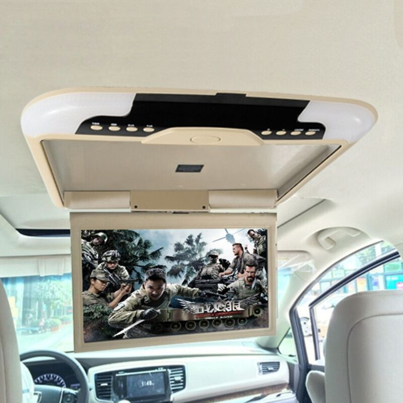 "Vehicle 13"" Smart Car Monitor Flip Down Roof Mounted Wide Screen Monitor Beige"