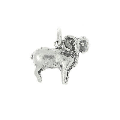 STERLING SILVER CURLY HORNED RAM CHARM OR PENDANT