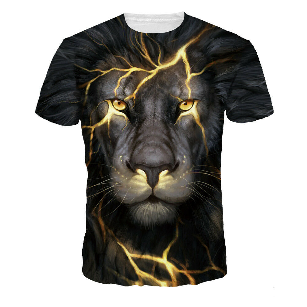 5cb36217 Details about Mens Womens Casual Tee Shirts 3D Print Lion Graphic designer  t-shirt Animal Tops