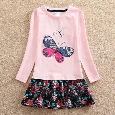 Kinder Baumwolle Mädchen Langarm Kleid Groß Butterfly Stickerei - Butterfly Kleider Für Kinder