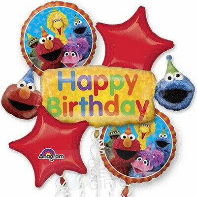 Sesame Street Elmo and Cookie Monster 5pc Mylars Birthday Bouquet Foil Balloons - Cookie Monster Balloons