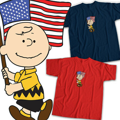Peanuts Charlie Brown American Flag USA Cool Mens Womens Kids Unisex Tee T-Shirt](Peanut Charlie Brown)