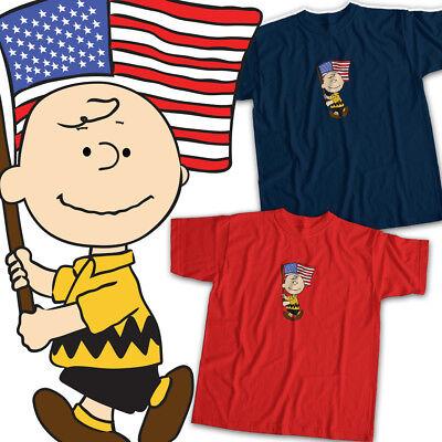 Peanuts Charlie Brown American Flag USA Cool Mens Womens Kids Unisex Tee T-Shirt (American Flag Kids T-shirt)