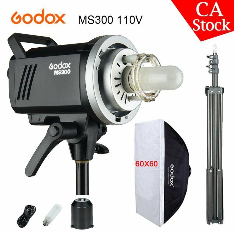 US Godox 2.4G MS300 300WS 110V Studio Strobe Head Flash Light + 60x60 Softbox