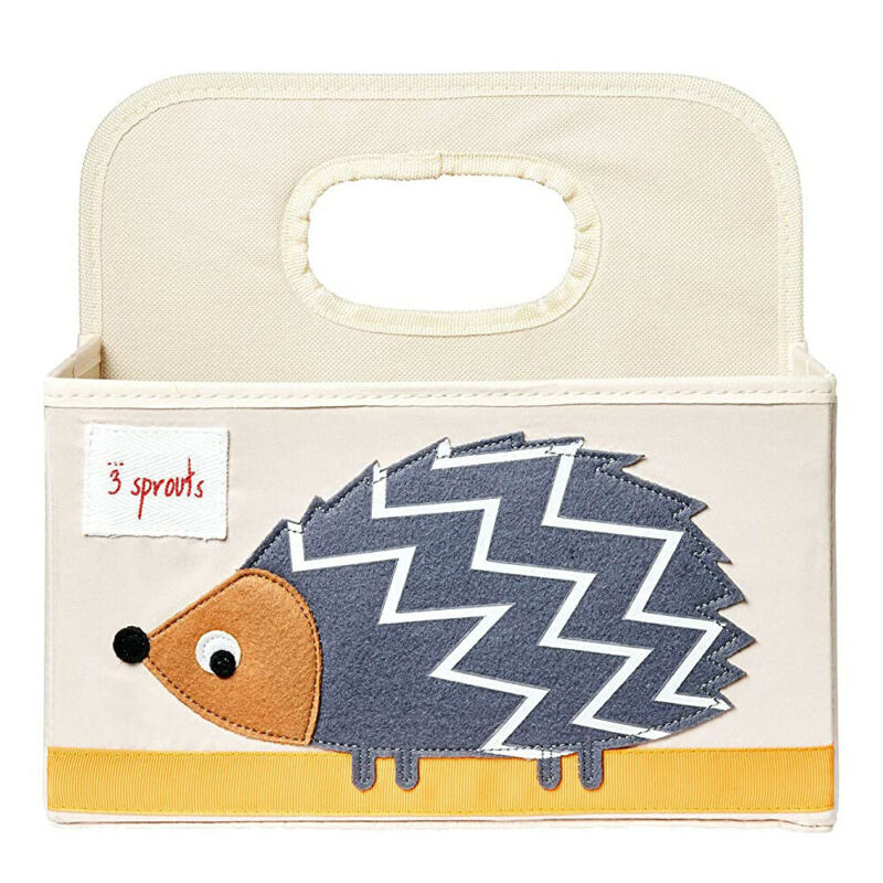 3 Sprouts UDOHDG Polyester Divided Portable Diaper Caddy w/ Gray Hedgehog Design