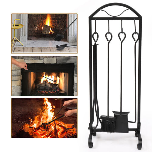 5IN1 Fire Tool Wrought Iron Fireplace Outdoor Fire Pit Tool Poker Shovel Brush