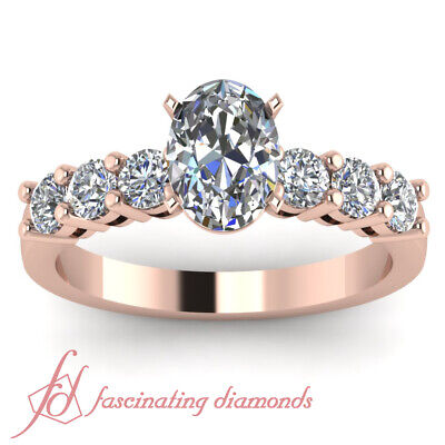 .85 Carat Oval Shaped Diamond Round Accented Ring In Rose Gold For Women GIA 1