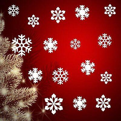16 Schneeflocken Mix-SetFenster Aufkleber Weihnachtsdekoration 5cm - 15cm