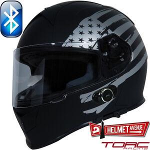 Bluetooth matte flat black american full face motorcycle helmet xs xxl