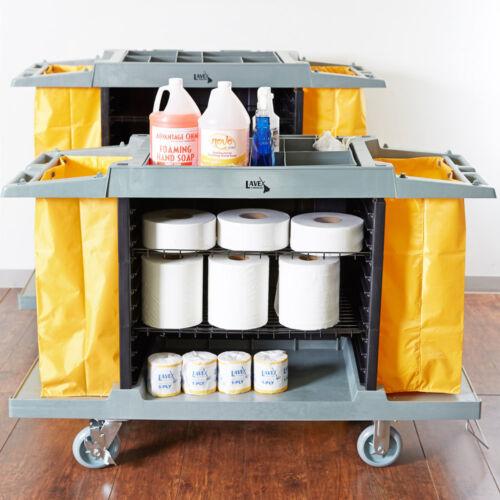 Gray 3-Shelf Heavy Duty Plastic Hotel / Housekeeping Cart with 2 Vinyl Bags