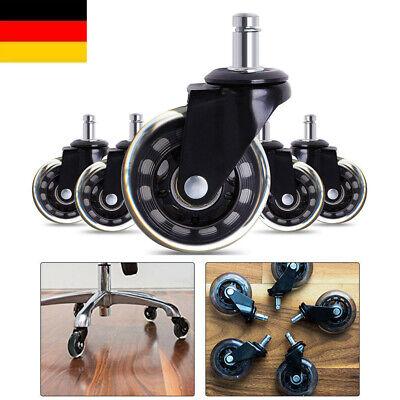 5Stück Stuhlrollen für Hartboden und Teppichboden Bürostuhl Floor Casters Wheel ()