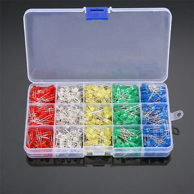 500pcs 5mm Led Light White Red Green Yellow Blue Assorted Emitting Diode Diy Set