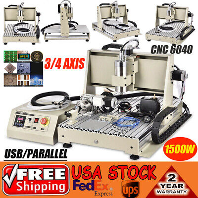 Usb 3 4 Axis 6040 1.5kw Cnc Router Engraver Engraving Milling 3d Cutter Machine