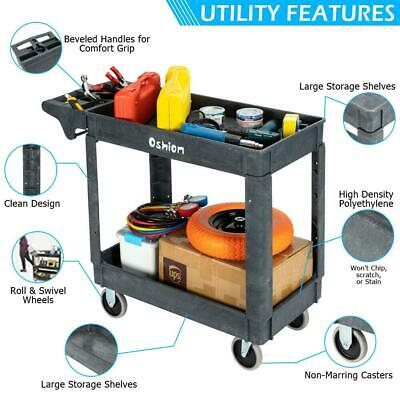 Heavy Duty 40 Utility Service Cart 500 Lbs Capacity 2 Layers Rolling Tool Cart