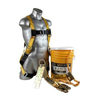 Roofing Fall Protection 25 Ft. Rooftop Safe Tie Bucket Kit Safety Harness Set