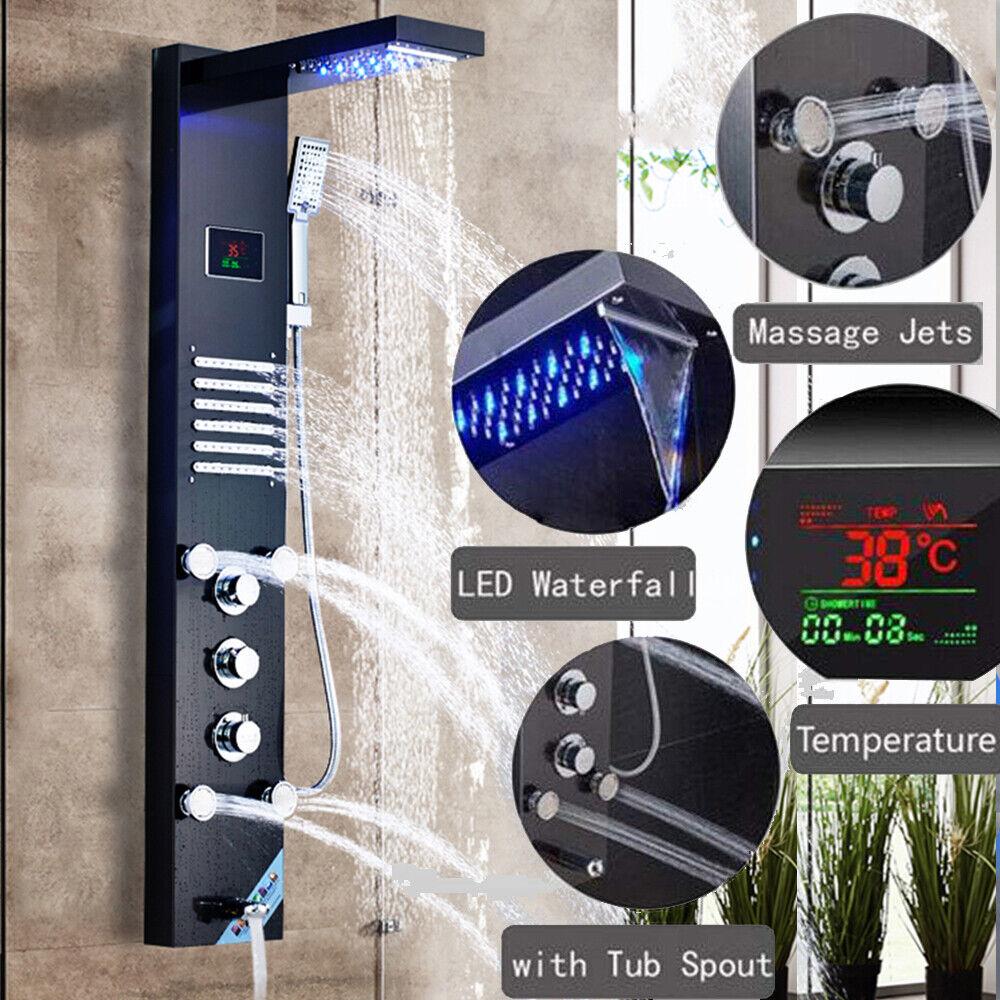 ORB Duschset Led Duschpaneel Duschsäule Edelstahl Wasserfall Regendusche Massage