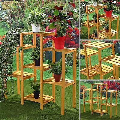 Blumenständer 7 Ablageflächen Blumenhocker Blumenampel Gartenregal Holz Treppe