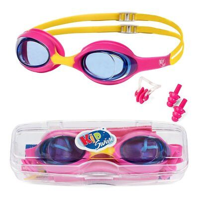 Swimming Goggles For Kids Age 4-12 Perfect Fit No Leak Nose & Ear Plugs Children - Swim Goggles For Kids