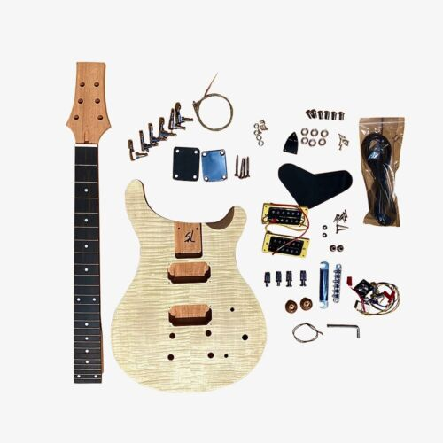 Electric Guitar DIY Kit PR844B Bolt On Neck Flamed Maple Chrome Hardware