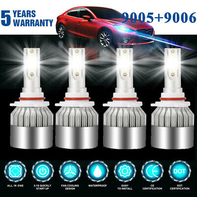 Combo 9006+9005 LED Headlight 4200W 630000LM Hi-Lo Beam Kit HID Lamp Power 6000K - Led Lights Bulk