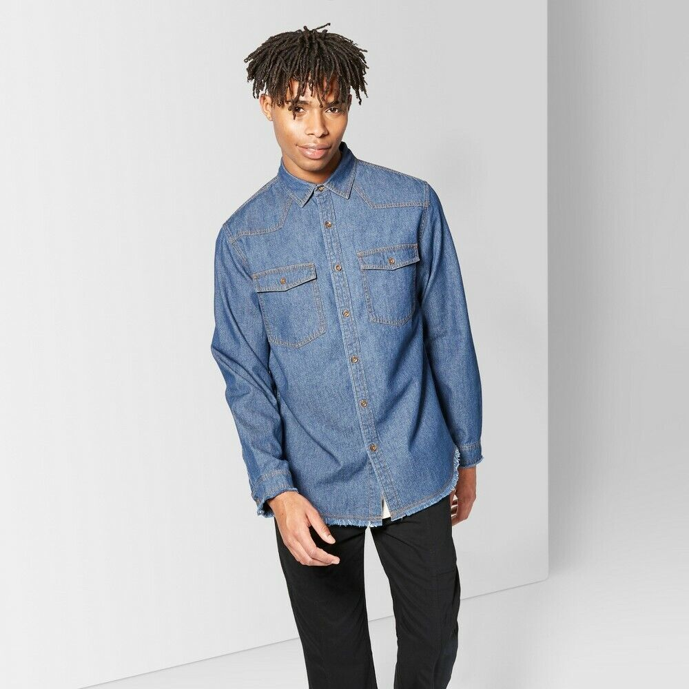 Original Use Men's Raw Edge Denim Button-down Shirt – Blue – Size Extra Small Casual Button-Down Shirts