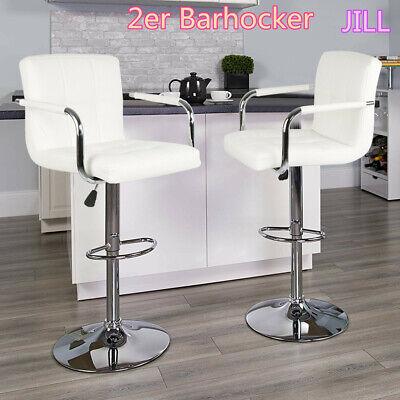 Barhocker Weiß Set (2er SET Barhocker Tresenhocker Barstuhl Weiß verzinkt Kunstleder Drehstuhl)