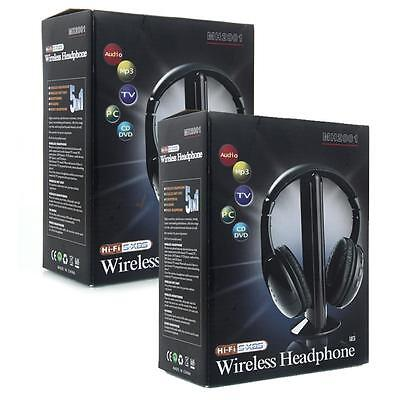 Lot 2pcs 5 in 1 Wireless Earphones Headband Headphones for MP3 PC TV CD FM Radio on Rummage
