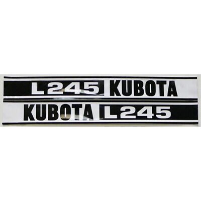 2-piece Black White Hood Decal Set Fits Kubota Compact Tractor L245
