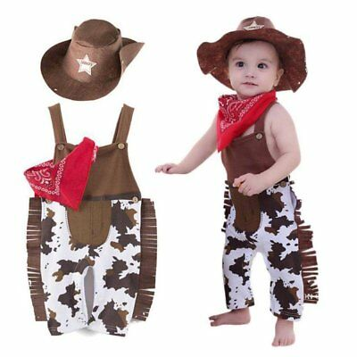 Baby Boy Girl Cowboy Western Sheriff Carnival Fancy Costume Outfit+Hat Set - Cowboy Outfits