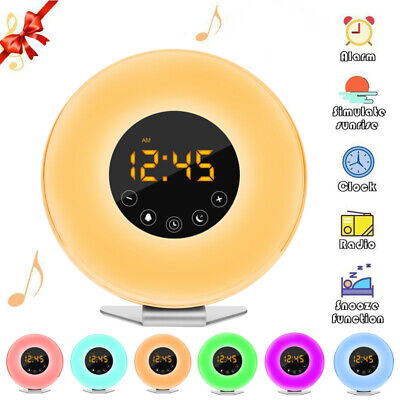 Sunrise Digital Alarm Clock Radio Relax Natural Sounds 6 Color Wake Up Light WF