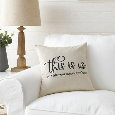 Meekio Farmhouse Pillow Covers With This Is Us Quote 18 x 18 Inch For Farmhouse ()