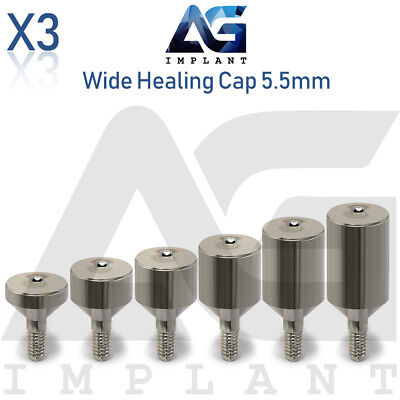 3 Wide Healing Cap Abutment 5.5mm Titanium For Dental Implant Internal Hex