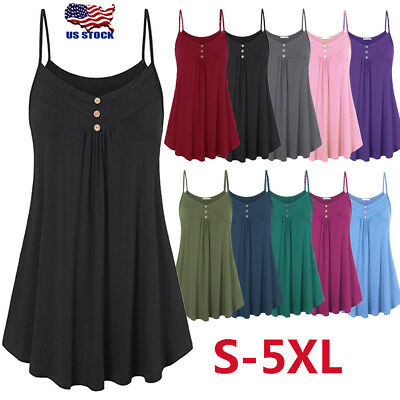 Button Cami (Women Strappy Button V Neck Cami Vest Tank Top Sexy Sleeveless Plain Swing)