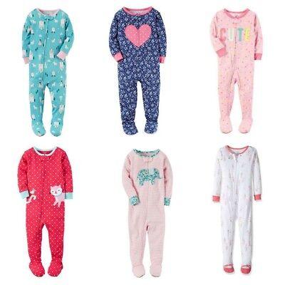 Girl's Carter's Sleeper Pajamas Footed 18M 24M 2T 3T 4T, Cat Bunny Heart Cute (Cute Girl Pajamas)