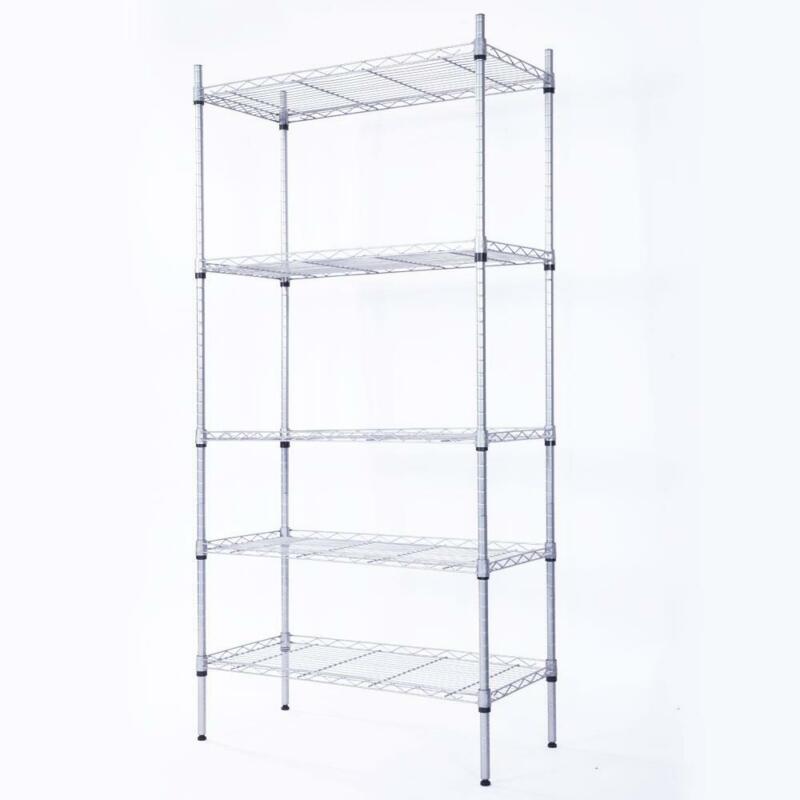 Heavy Duty 5 Tier Wire Metal Commercial Storage Shelf Shelving Rack Adjustable