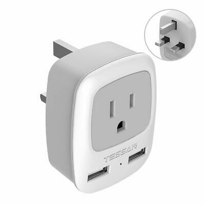 USA to UK Ireland HongKong Travel Power Plug Adapter with AC Outlet & 2 USB - Ireland Power Outlet