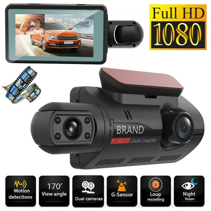 Dual Lens Car DVR Dash Cam Video Recorder G-Sensor 1080P Front And Inside Camera