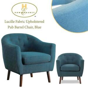 NEW Homelegance Lucille Fabric Upholstered Pub Barrel Chair, Blue Condtion: New